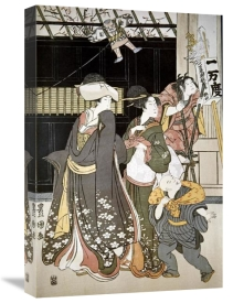 Utagawa Toyokuni - Customs of The Year: New Year's, Kite Flying
