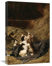 Julius Adam - Kittens in the Hay