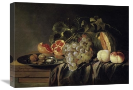 Jasper Gerardi - Still Life of a Melon on a Pewter Plate and Peaches
