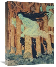 Eugene Samuel Grasset - Three Women and Three Wolves