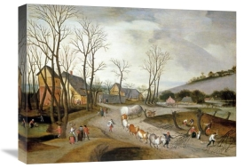 Abel Grimmer - Winter Landscape with Wagon and Peasants at Work