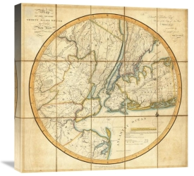 John H. Eddy - Map of The Country Thirty Miles Round the City of New York, 1811