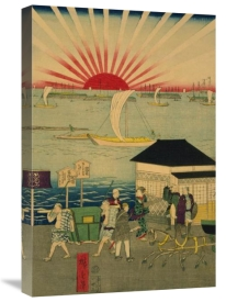 Utagawa Hiroshige - Famous places in Tokyo: real view of Takanawa #2 Featuring the Rising Sun.