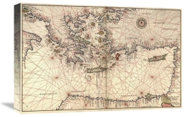 Battista Agnese - Portolan or Navigational Map of Greece, the Mediterranean and the Levant