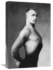Vintage Muscle Men - Right Profile of Bodybuilder from the Waist Up