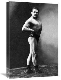 Vintage Muscle Men - Bodybuilder's Shadowed Front and Right Profile