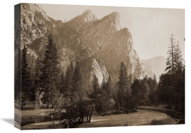 Carleton Watkins - Further Up the Valley, The Three Brothers, the highest, 3,830 ft., Yosemite, California, 1866