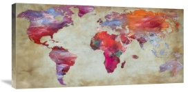 World maps canvas contemporary prints and canvas art global joannoo world in colors sciox Images