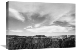 Ansel Adams - Canyon edge, low horizon, clouded sky, Grand Canyon National Park, Arizona, 1941