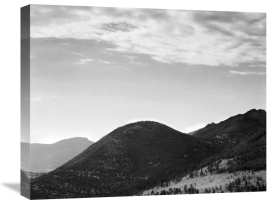 Ansel Adams - View of hill with trees, clouded sky, in Rocky Mountain National Park, Colorado, ca. 1941-1942