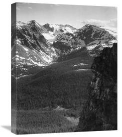 Ansel Adams - View of snow-capped mountain timbered area below, in Rocky Mountain National Park, Colorado, ca. 1941-1942