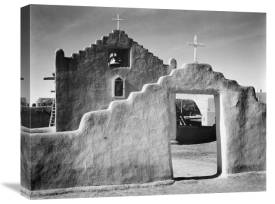 Ansel Adams - Full side view of entrance with gate to the right, Church, Taos Pueblo National Historic Landmark, New Mexico, 1941