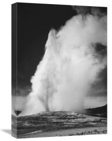 Ansel Adams - Photograph of Old Faithful Geyser Erupting in Yellowstone National Park, ca. 1941-1942