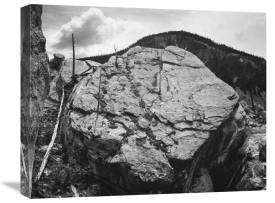 Ansel Adams - Boulder with hill in background, Rocks at Silver Gate, Yellowstone National Park, Wyoming, ca. 1941-1942