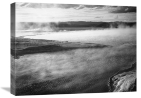 Ansel Adams - Steaming pool in foreground, high horizon, Fountain Geyser Pool, Yellowstone National Park, Wyoming, ca. 1941-1942