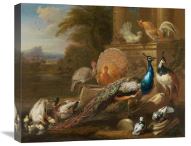 Marmaduke Cradock - Peacocks, Doves, Turkeys, Chickens and Ducks by a Classical Ruin