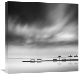 George Digalakis - Four Benches And Three Umbrellas