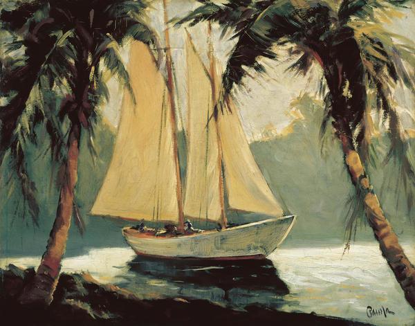Frederick Pawla Sailboat Santa Barbara Art Print
