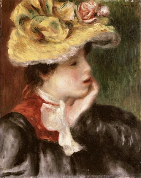 PierreAuguste Renoir  Tete de jeune fille chapeau jaune