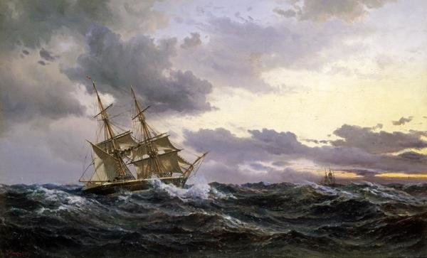 Wilhelm Melbye Sailing Vessels In A Stormy Sea Art