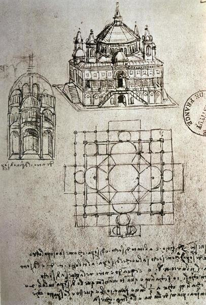 Leonardo Da Vinci Sketch Of A Square Church With Central