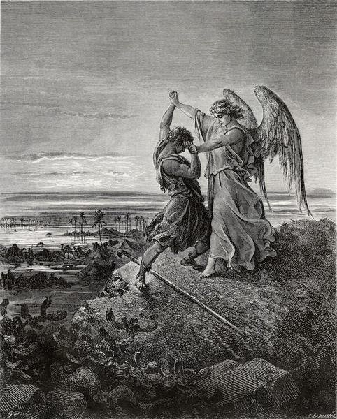 Gustave dore jacob wrestling with the angel art print global gallery