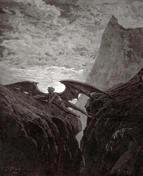 Gustave Dore Satan Resting On The Mountain From Milton