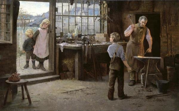Work Van For Sale >> Hamlet Bannerman - His First Day at Work (Child Apprentice with Blacksmith) - Art Print - Global ...
