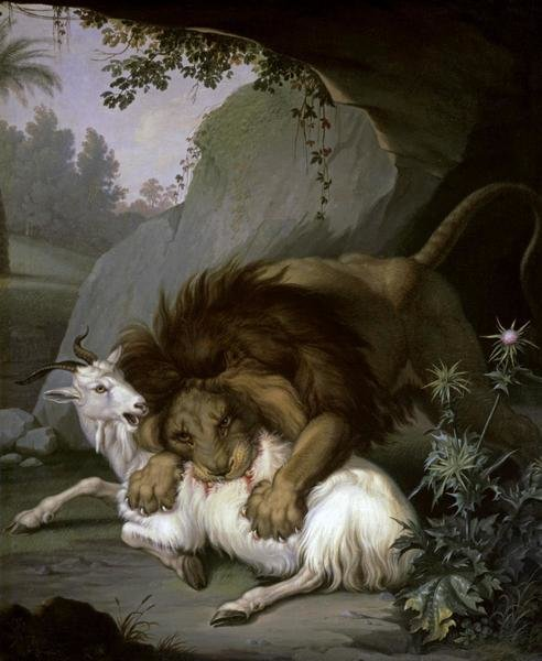 Wenzel Peter A Lion Attacking A Goat Art Print
