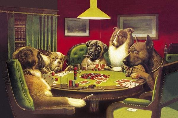 C M Coolidge Poker Dogs A Bold Bluff 1903 Art Print