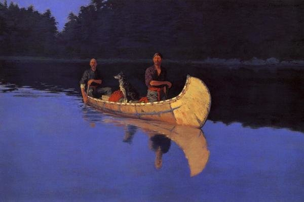 Frederic Remington Evening On A Canadian Lake Art