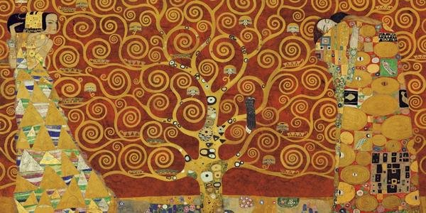 Gustav Klimt Tree Of Life Red Variation Art Print