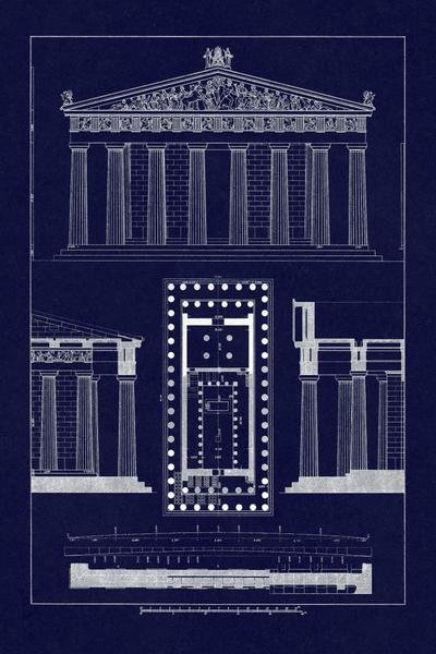 J Buhlmann The Parthenon At Athens Blueprint Art