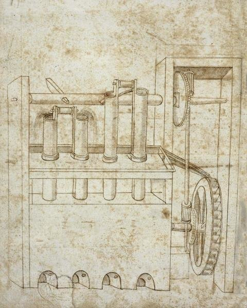 Francesco Di Giorgio Martini Folio 10 Piston Pumps And