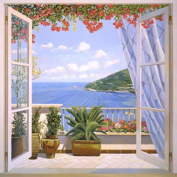 Andrea del missier finestra sul mare art print global gallery - Quadri con finestre ...
